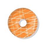 Tasty orange sweet donut icon with sprinkles isolated on white background.  Royalty Free Stock Image