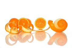Tasty oranges and orange peel royalty free stock photography
