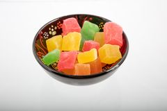 Tasty oriental sweets Turkish delight lokum. Sweetness food dessert, Turkish Delight lokum  in a bowl ,close up high angle view Stock Photography