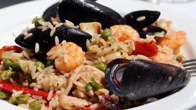 Tasty paella rice dish with mussels, shrimp and green peas Royalty Free Stock Photography
