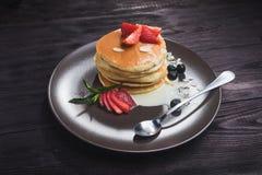 Tasty pancake with strawberries Stock Image