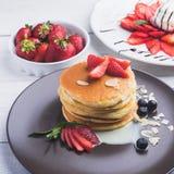tasty pancake with strawberries Stock Photos