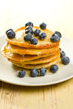 Tasty pancakes with blueberries Royalty Free Stock Photography