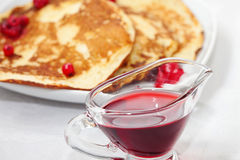 Tasty Pancakes With A Syrup Stock Photos