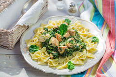 Tasty pasta with chicken and spinach Stock Photography