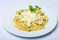 Tasty Pasta With Cream, Cheese And Parsley Royalty Free Stock Images