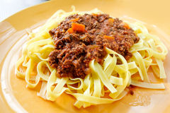Tasty pasta-Italian meat sauce pasta Royalty Free Stock Photo