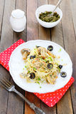Tasty pasta with mushroom pesto Stock Photos