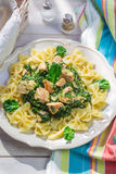 Tasty pasta with spinach and chicken Stock Images