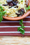 Tasty pasta tagliatelle with mushrooms and parmesan Royalty Free Stock Photo