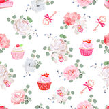 Tasty pastries, bouquets of flowers, keys with red bows on white seamless vector print Royalty Free Stock Photography