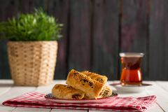 Tasty Pastry Borek and Tea Royalty Free Stock Photography