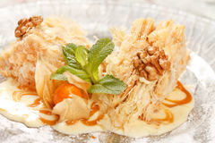 Tasty pastry with caramel Royalty Free Stock Images