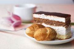 Tasty pastry with the coffee Stock Image