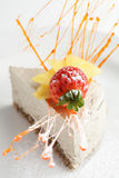Tasty peace of cake in white dish Stock Photo