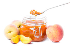 Tasty peach jam Stock Photos