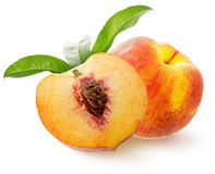 Tasty peaches isolated on the white background Royalty Free Stock Photography