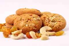 Tasty  peanut butter  cookies with nuts and raisins Stock Photo