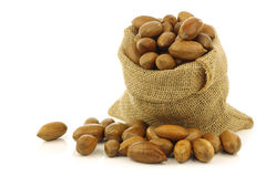 Tasty pecan nuts in a burlap bag Royalty Free Stock Photos
