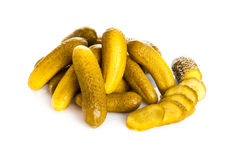 Tasty pickled cucumbers on isolated background.salty  traditiona Stock Image