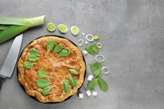 Tasty pie with spinach Stock Photography