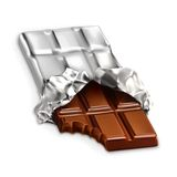 Tasty piece of chocolate bar. Vector illustration  on white background Stock Photos