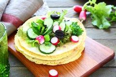 Tasty pita with salad royalty free stock photo