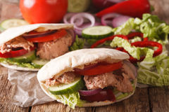 Tasty pita with tuna, cucumber, nappa cabbage, onion and tomatoe Royalty Free Stock Photos