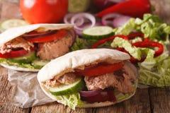 Free Tasty Pita With Tuna, Cucumber, Nappa Cabbage, Onion And Tomatoes Closeup. Horizontal Royalty Free Stock Photos - 80380888