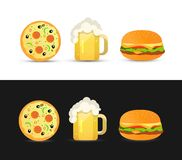 Tasty Pizza, Beer and Hamburger Royalty Free Stock Photo