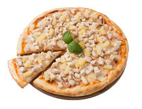 Tasty pizza with chicken and pineapple isolated Stock Photography