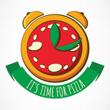 Tasty pizza with clock, design template. Vector illustration. Co Royalty Free Stock Photography