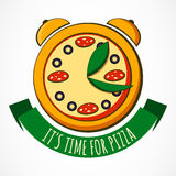 Tasty pizza with clock, design template. Vector illustration. Co Royalty Free Stock Images
