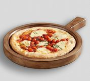 Tasty Pizza and Farmhouse Wood Pizza Paddle stock photos