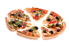 Tasty Pizza with olives isolated Royalty Free Stock Photo
