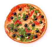 Tasty Pizza with olives isolated Royalty Free Stock Photos