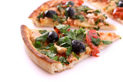 Tasty Pizza with olives isolated Royalty Free Stock Image
