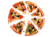 Tasty Pizza with olives isolated Stock Photos