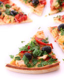 Tasty Pizza with olives isolated Stock Images
