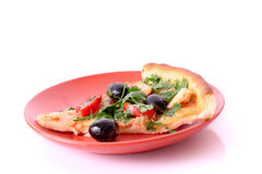Tasty Pizza with olives isolated Royalty Free Stock Images