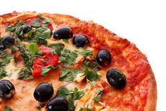 Tasty Pizza with olives isolated Royalty Free Stock Photography