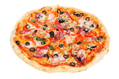 Tasty pizza with olives, pepperoni, ham and pepper. Colorful tasty pizza with olives, pepperoni, ham and pepper, close-up shot, isolated on a white background Stock Image