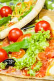 Tasty pizza with olives and vegetables Royalty Free Stock Image