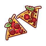 Tasty pizza pieces with delicious salami and ripe tomatoes. Tasty pizza triangular pieces with delicious salami, delicate cheese, mushroom slices, ripe tomato royalty free illustration