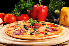 Tasty pizza on  plate Stock Photography