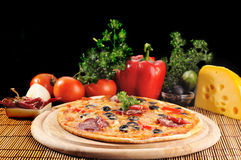 Tasty pizza on  plate Royalty Free Stock Image