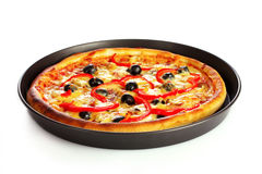 Tasty pizza on plate isolated Stock Images