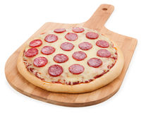 Tasty pizza with salami Royalty Free Stock Photo