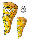 Tasty pizza slice cartoon character Royalty Free Stock Images