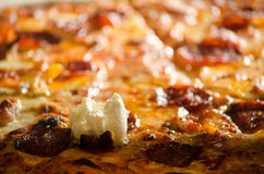 Tasty pizza with sour cream closeup Royalty Free Stock Photos